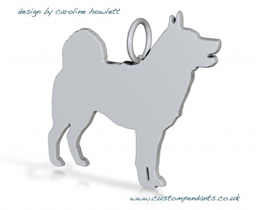 Elkhound dog silhouette pendant sterling silver handmade by saw piercing Caroline Howlett Design